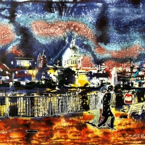 By the Light of St Pauls - ©2015 - Cathy Read - Watercolour and Acrylic - 40x50cm