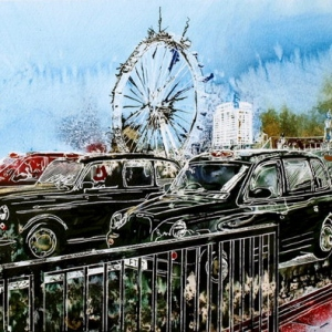 Taxi Marathon 2 - ©2014 - Cathy Read - Watercolour and Acrylic on paper on board -30 x 45 cm - SOLD