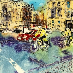 ©2015 - Cathy Read - Bobbies on Bicycles - Watercolour and Acrylic  - 61x45 cm - £750 framed
