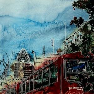 ©2015 - Cathy Read - Bus Queue - Watercolour and Acrylic  - 55x75 cm
