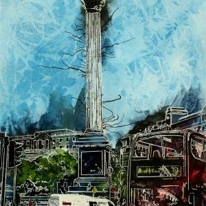 Trafalgar Square - ©2015 - Cathy Read Watercolour and Acrylic  - 38x28 cm