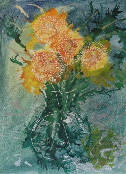 ©2009 Cathy Read - Chrysanthemums - 38x28cm - Mixed media on paper