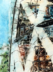 #GherkinPainting Painting of the #Gherkin in London #Abstract©2014 - Cathy Read - Ground Star - Watercolour and Acrylic - 28 x38cm