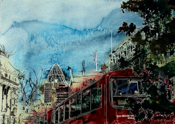 Picture of a London Bus painting with the Gherkin and London Skyline behine=d.Bus Queue - ©2015 - Cathy Read - Watercolour and Acrylic - 55x75 cm