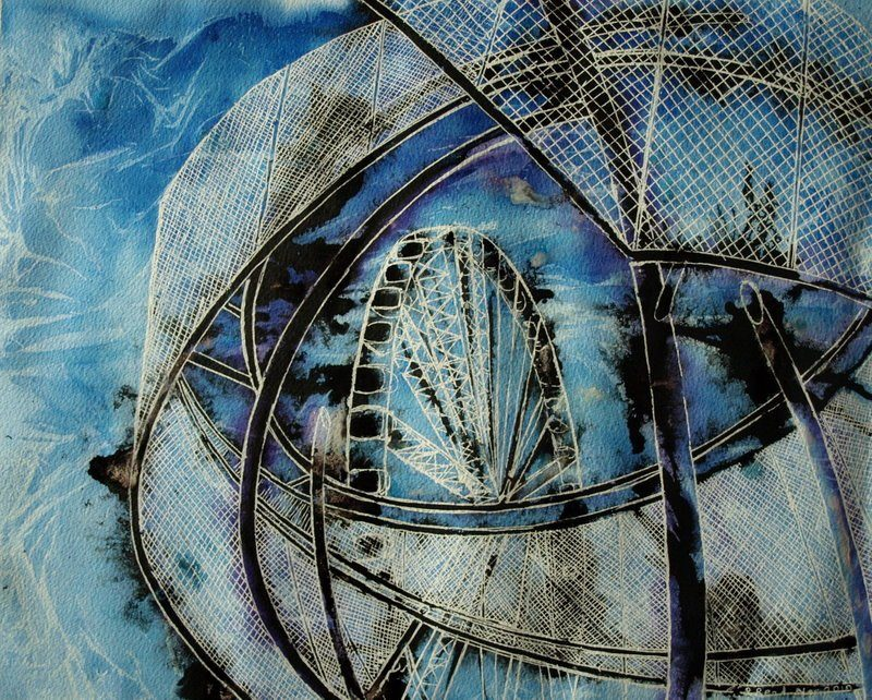 """Painting looking up through sculpture in Corporation Street Manchester at the """"Manchester eye""""."""