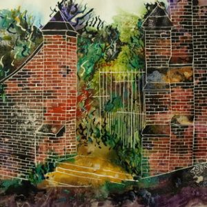 Painting of a disused entrance to a cemetery in Middleton, Greater Manchester, UK. I've always been struck by religious people who emphasise the physical and neglect the spiritual aspects of their faith. Memorials being a particular curiosity - Gateway to eternity or Paradise -©2011-Cathy Read- 50.8x40.6cm-Watercolour and acrylic ink - SOLD