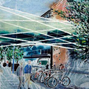 ©2011-Cathy-Read-Fingertrap-Bridge-on-Corporation-Street-Mixed-media-50.8x40.6cm