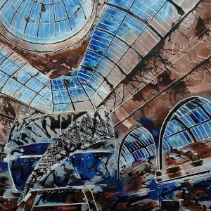Painting of the inside of the Corn Exchange in ManchesterThe Triangle - ©2011- Cathy Read - Watercolour and Acrylic ink- 50.8x40.6cm