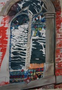 ©2010 Cathy Read - Faith built on sand- 59.5x42cm- Mixed media on paper
