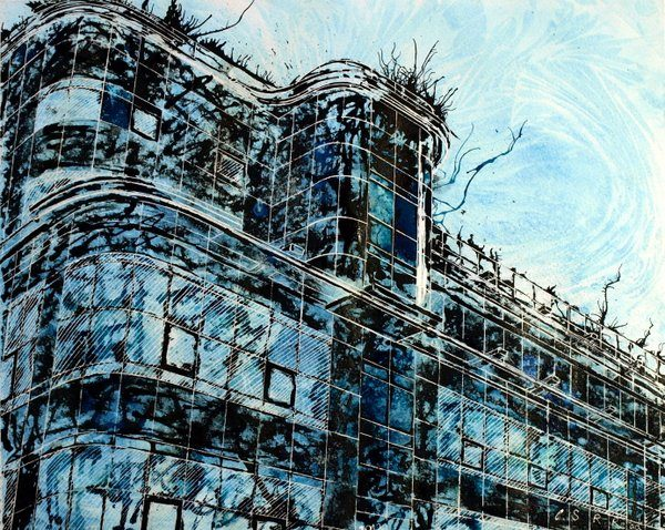 Express building painting, Manchester's iconic building on Great Ancoats Street. ©2012 - Cathy Read - Express- Mixed Media - 40x50cm
