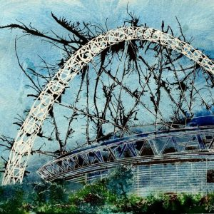 Painting of Wembley Stadium as seen from the railway Designer Stadium - Cathy Read - ©2012 -Watercolour and Acrylic ink- 40x50cm