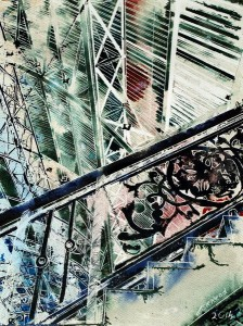 Painting of Detail of Stairs at Business Design Centre in London. Grand-Ascent - ©2014 - Cathy Read -Grand Ascent- Watercolour and Acrylic - 38 x 28 cm - SOLD