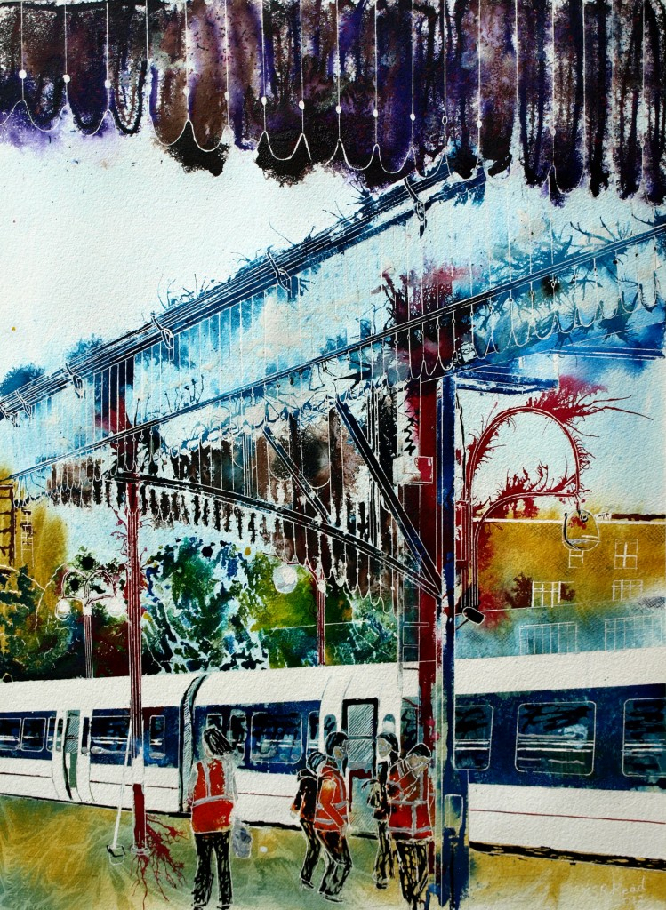 Asking questions about this Marylebone painting featuring the London Station in all its glory. ©2012 - Cathy Read - The journey begins- Mixed media -76x56cm