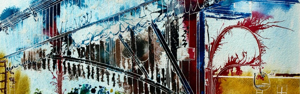 Marylebone painting from ©2012 - Cathy Read - The journey begins- Mixed media -76x56cm
