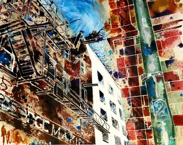 Painting of Fire Escape in Northern Quarter in ManchesterFire Escapes - ©2012 - Cathy-Read- watercolour andy acrylic ink-40x50cm