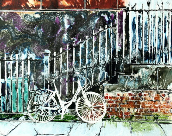 Painting of a White bicycle glowing in the sunlight propped up against railings in Manchester. White Bicycle- ©2015 - Cathy Read -Watercolour and Acrylic - 40 x 50 cm