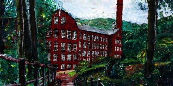 ©2012 - Cathy Read -Quarry Bank Mill - Mixed media-41x58cm
