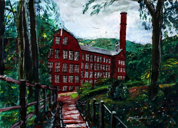 Collage painting of Quarry Bank Mill - Mixed media-41x58cm - ©2012 - Cathy Read -