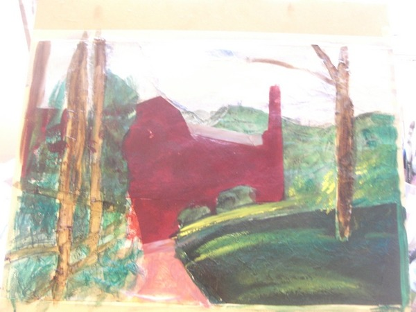 Collage painting of Quarry Bank Mill ©2012 - Cathy Read -Work in Progress  - Mixed media-41x58cm