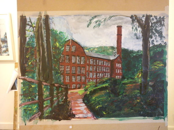 Collage painting of Quarry Bank Mill ©2012 - Cathy Read  Mixed media-41x58cm