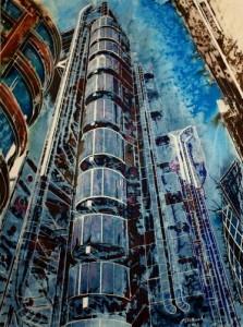 #LloydsBuildingPainting #Painting of the Lloyds Building ©2012 - Cathy Read - The Lloyds Building - Mixed media-75x55cm