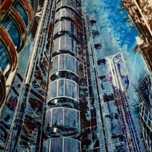 #LloydsBuildingPainting #Painting of the Lloyds Building©2012 - Cathy Read - The Lloyds Building - Mixed media-75x55cm