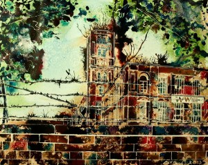 Painting of Swan Mill in Chadderton, Greater Manchester. Swan Mill - ©2013 - Cathy Read - watercolour and acrylic ink- 40 x 50 cm - SOLD