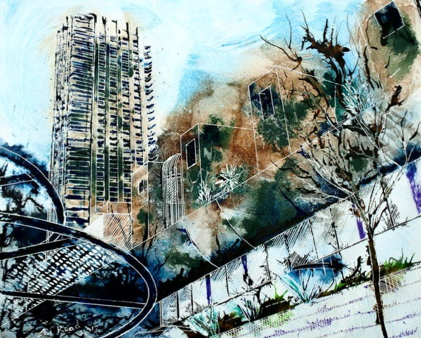 ©2013 - Cathy Read - Barbican Defender of the Arts- Mixed media - 40 x 50 cm