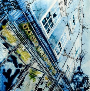 Painting of the Oxford University Press Bookshop - ©2013 - Cathy Read - Watercolour and Acrylic- 40 x 40 cm £427