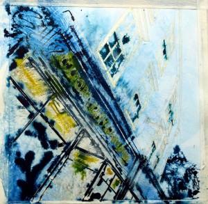©2013 - Cathy Read - Oxford Bookshop - Work in Progress- Watercolour and Acrylic- 40 x 40 cm