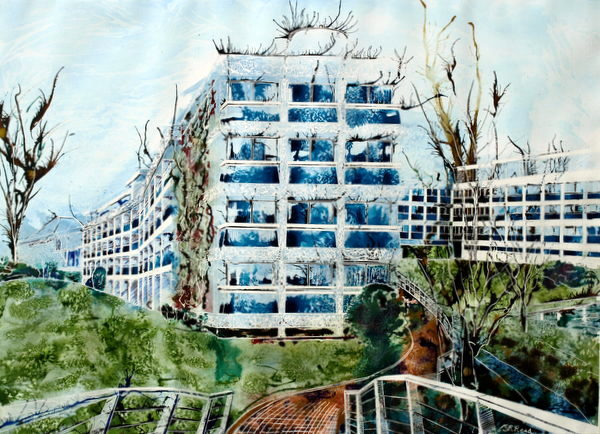 ©2013 - Cathy Read - Wolfson College from Cherwell - Watercolour and Acrylic- 75 x 55 cm