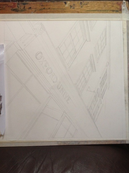 ©2013 - Cathy Read - Oxford Bookshop - Work in Progress - Pencil - 40 x 40 cm