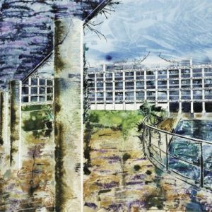 Painting of Wolfson College, Oxford - River Quad - ©2013 - Cathy Read - Watercolour and Acrylic- 75 x 55 cm