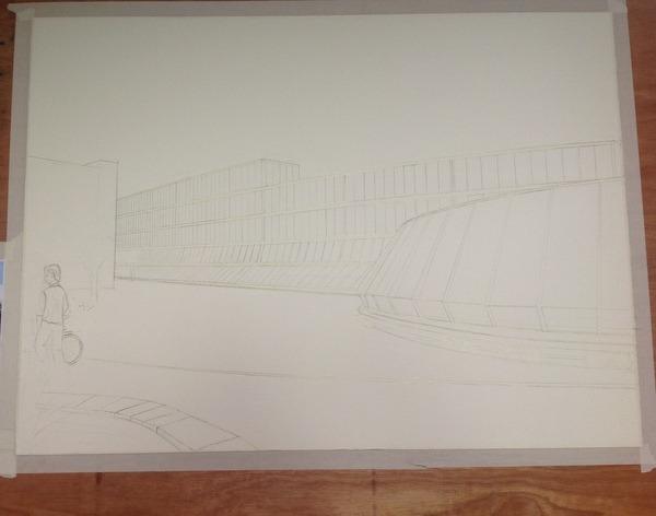 ©2013 - Cathy Read - Work in Progress Keble College Oxford, - Spaceship - Pencil - 55 x 75 cm