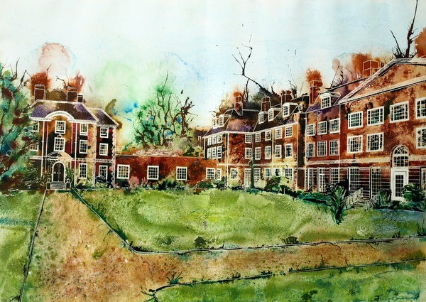©2013 - Cathy Read - Lady Margaret Hall, Oxford - Watercolour and Acrylic - 55x75cm
