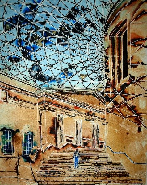 Painting of British Museum with people on the steps in the courtyard with atrium roof. Stepping into History - ©2011 - Cathy Read Art -50 x 40 cm - Watercolour and Acrylic - SOLD