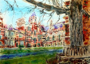 Painting of Keble College, Oxford - Pusey Quad -©2013 - Cathy Read - Watercolour and Acrylic- 55 x 75 cm - £1200