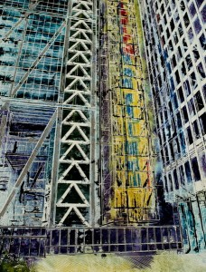 Abstract painting of one of London's Newest skyscrapers known as the Cheesegrater. Commissioned painting created to show the height of the structure.Cheesegrater - ©2014 - Cathy Read - Watercolour and Acrylic - 38x28 cm SOLD