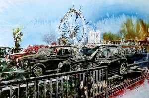 Painting of three taxi's crossing Westminster Bridge in London, red taxi, black cabTaxi Marathon 2 - ©2014 - Cathy Read - Watercolour and Acrylic on paper on board -30 x 45 cm - SOLD