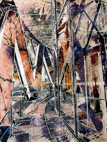 Under the Gherkin painting #GherkinPainting Painting of the #Gherkin in London©2013 - Cathy Read - Under the Gherkin - Watercolour and Acrylic - 38 x 28 cm