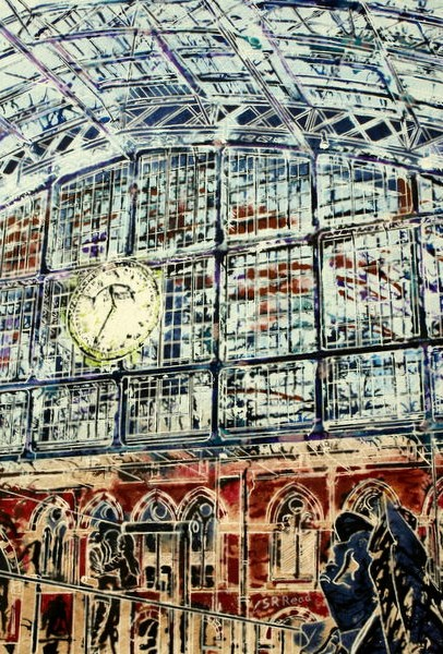 Painting of St Pancras Station ©2014 - Cathy Read - Next Stop Paris - Watercolour and Acrylic - 38x28 cm