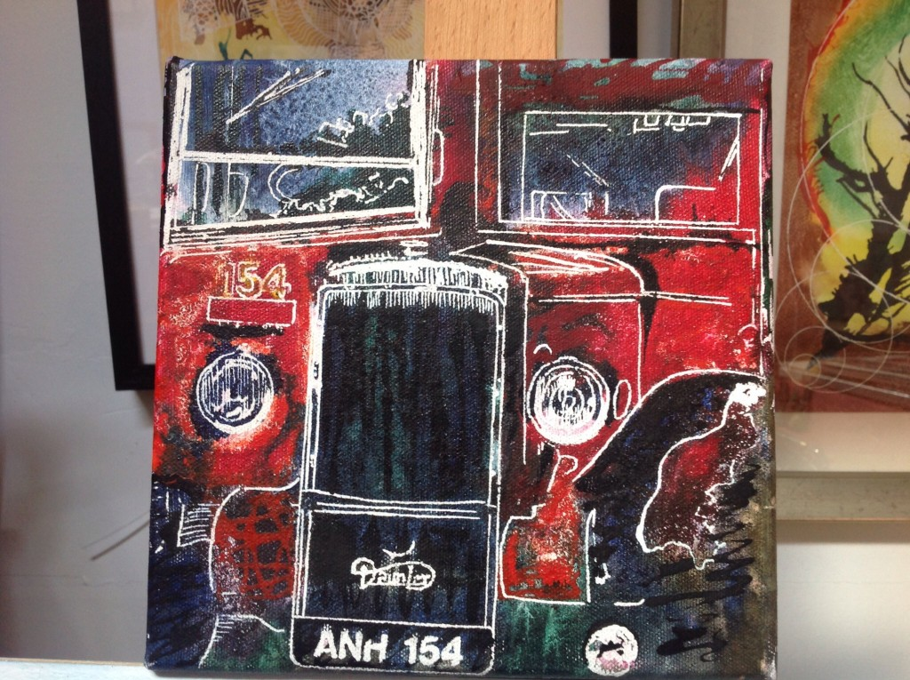 ©2014 - Cathy Read - Routemaster bus - Watercolour and Acrylic on stretched canvas-20 x 20 cm