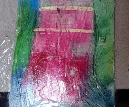 ©2014 - Cathy Read - Bus Selfie WIP- Watercolour and Acrylic on paper on board -30 x 45 cm 150
