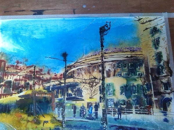 ©2014 - Cathy Read - Work in Progress - Manchester Central Library - Watercolour and Acrylic -40 x 50 cm 600 1