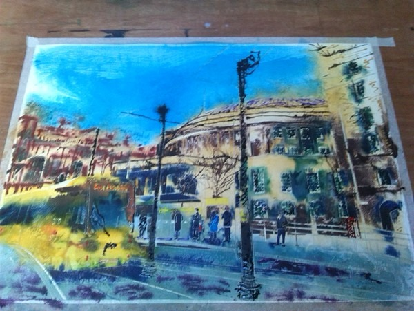 Manchester library and tram Stop WIP painting started and inks added