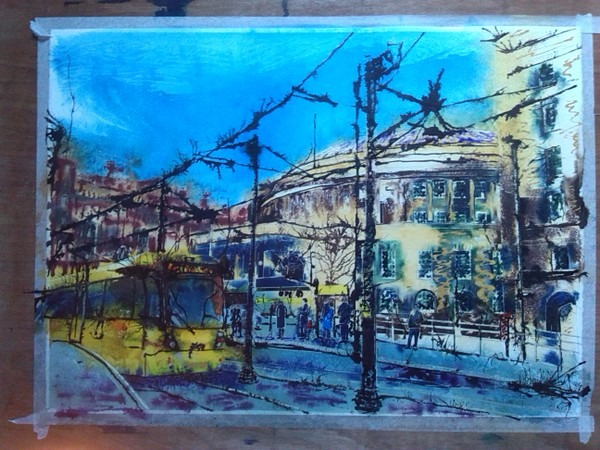 ©2014 - Cathy Read - Work in Progress - Manchester City Library and tram- Watercolour and Acrylic -55x75 cm -600 3