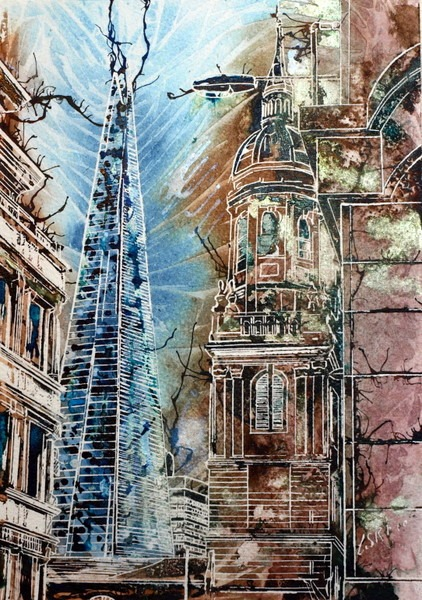 Hidden Shard painting of The Shard, #London #ShardPainting Hidden Shard ©2014-Cathy Read-Watercolour and Acrylic-29.7x21cm £180