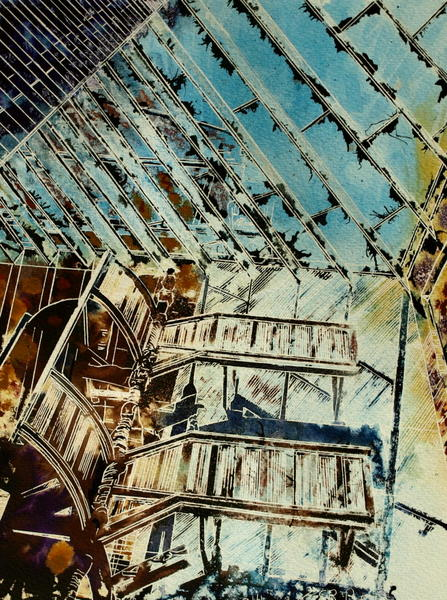 ©2014 - Cathy Read - Stairway to Heaven - Watercolour and Acrylic - 38x28 cm