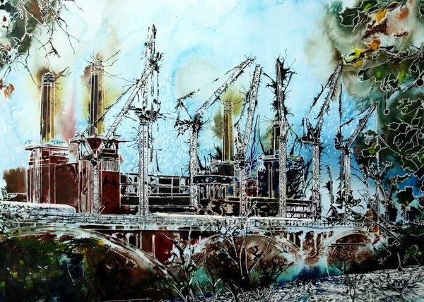©2015 - Cathy Read - Battersea Reborn- Watercolour and Acrylic - 55 x 75 cm