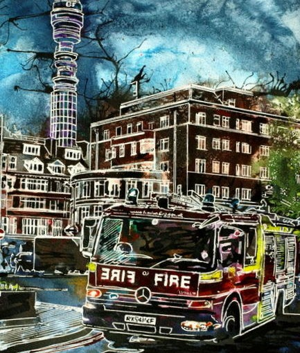 Fire engine painting, ©2015 - Cathy Read -Blues and Twos - Watercolour and Acrylic - 28x38cm 600